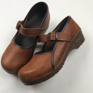 Sanita Professional Mary Janes Brown Leather Clogs